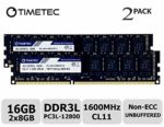 Timetec Hynix IC DDR3 PC3-12800 1600 MHz Non ECC Unbuffered 1.35V/1.5V Dual Rank 240 Pin UDIMM Desktop PC Computer Memory Ram Module Upgrade (16GB(8GBx2))