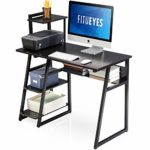 FITUEYES Computer Desk with Shelves Wood Black Writing Table Workstation for Home Office 103x50